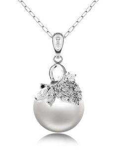 Fashion Shell Pearl/ Rhinestone With Platinum Plated Necklace