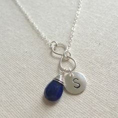 Birthstone Initial Infinity Necklace, Sterling Silver, Personalized Christmas Gift For Women, Monogram Necklace, September Birthday