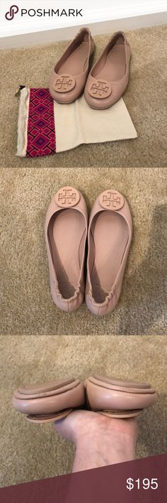 LIKE NEW Tory Burch Minnie Flats Beautiful LIKE NEW Tory Burch Minnie  travel ballet flat. Color is a pink-nude, perfect for spring!