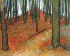 Pieter Cornelis Mondriaan aka Piet Mondrian Wood with beech trees 1899 Egon Schiele Forest with Sunlit Clearing in the Background 1907 upd:Klimt- Tannenwald I 1020 x 1024 Piet Mondrian, Theo Van Doesburg, Beech Tree, Dutch Painters, Dutch Artists, Famous Artists, Art Moderne, Kandinsky, Tree Art
