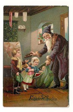 Santa father christmas postcard santa brings gifts and gingerbread to kids Christmas Fonts, Father Christmas, Blue Christmas, Vintage Christmas Cards, Christmas Photos, Christmas Greetings, Vintage Greeting Cards, Vintage Postcards, St Nicholas Day