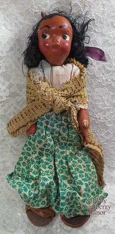 Vintage Ethnic South American Oil Cloth & Wood Doll