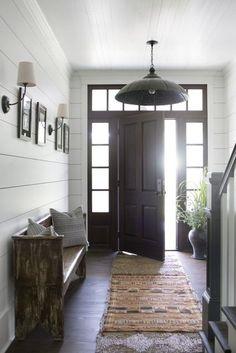 #8: An inviting modern farmhouse entryway by Cloth & Kind.