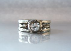 Half Carat Diamond Art Deco Three Band by adamfosterjewelry