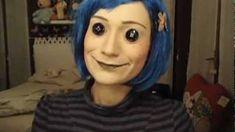 Button-eyed Coraline makeup