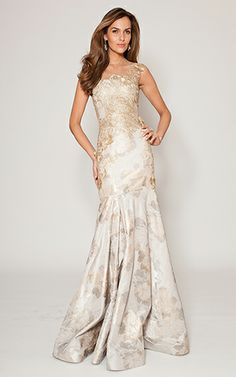 White and Gold Wedding. Gold Bridesmaid Dress. Soft and Romantic. Gold Jacquard Trumpet Gown #TeriJon