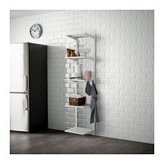 IKEA - ALGOT, Wall upright, shelf and hook, The parts in the ALGOT series can be combined in many different ways and easily adapted to your needs and space.Since you only need to click in the brackets, shelves and accessories, it is easy to assemble, adjust and change your storage solution.Can be used anywhere in your home, even in damp areas like the bathroom and under covered balconies.Can also be used in bathrooms and other damp indoor areas.You click the brackets into the ALGOT wall…