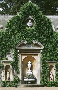the english.... vines on sturdy rusticated walls, leaving refined moldings open to view