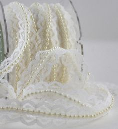 """Ivory Lace Ribbon Pearl Center 3/4"""" wide by the yard Weddings Crafts, Gift Wrap, DIY, Baby, Trim, Sewing, Scrapbook by ThePaperSandbox on Etsy https://www.etsy.com/listing/194394775/ivory-lace-ribbon-pearl-center-34-wide"""