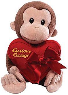 Gund Curious George Holding Heart Stuffed Animal
