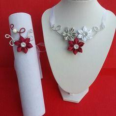 Parure collier et bracelet bordeaux blanc et gris