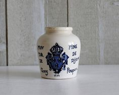 Bonjour,  Antique stoneware pot, pale neutral ceramic with good glaze.  Quite heavily glazed Beautiful piece for a few flowers, pen holder, or it would be lovely as part of a displayed collection.  Marked in blue  Moutarde Fine de Dijon Grey Poupon 1777   Stamped : Digoin Sarreguemines - Packed in France  Its in very good vintage condition.  Dimensions ∅8 x 9 cm // ∅ 3 1/8 and 3 1/2 height Weight: 0.220 kilos ( 0.48 lbs ) unpacked  If you purchase multiple items I happy to combine the…
