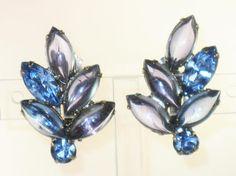 Vintage D&E Juliana Amethyst and Aqua Blue Poured Glass and