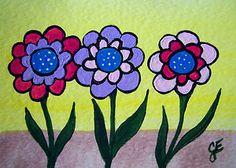 """Happy Days Flowers""  Original Painting  Artist Trading Card"