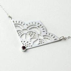 Mehndi mandala pendant handmade in sterling silver with rose garnet.