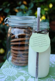 Sweet and the tag is so true. Love the cookies and milk on jars with attached chocolate straw.