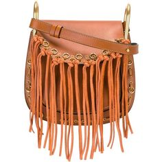 Chloé 'Hudson' fringed shoulder bag (37,755 MXN) ❤ liked on Polyvore featuring bags, handbags, shoulder bags, brown, tassel purse, brown handbags, brown fringe purse, shoulder hand bags and chloe shoulder bag