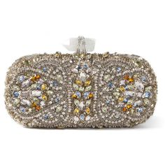 Marchesa: Lily Embroidered Clutch in Silver Multi ($2,995) ❤ liked on Polyvore