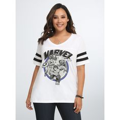 Torrid Marvel The Avengers Football Tee ($35) ❤ liked on Polyvore featuring tops, t-shirts, women plus size tops, striped t shirt, plus size tops, white tee and white stripes t shirt
