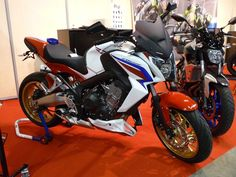 CB 650 F at Biarritz Motor Show France with black satin nose screen