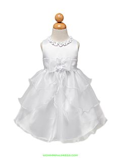 baby flower girl dresses | Flower Girl Dresses, Communion Dresses, Pageant Dresses - White Satin ...