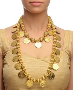 Golden Beaded Necklace with Coins- Buy Necklaces,Soranam Online | Exclusively.in