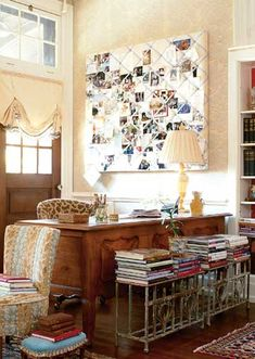 Memory Board Office. Most intriguing is the lovely table/bench with stacked books on top.
