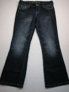 Women's MAURICES Dark Wash Stretch Bootcut Jeans Sz 9/10 Shrt (MEASURES 33x30)  #Maurices #BootCut