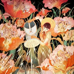 ⊰ Posing with Posies ⊱ paintings of women and flowers - My Sister Powers the World | Victo Ngai