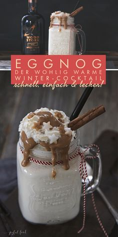 Eggnog - the homely warm winter cocktail - Contains. Advertising – Fast Eggnog recipe without egg! With eggnog and rum. The perfect winter c - Winter Cocktails, Quick Recipes, Egg Recipes, Eggnog Rezept, Eggnog With Rum, Recipe For Teens, Vegetable Drinks, Clean Eating Snacks