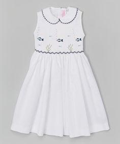 Look at this #zulilyfind! White Smocked Fish Dress - Infant, Toddler & Girls #zulilyfinds