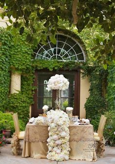 ~~ Opulent, luxurious floral table runner created by Karen Tran Karen Tran, Just In Case, Just For You, Cascading Flowers, Burlap Flowers, Paper Flowers, Romantic Table, Decoration Table, San Diego Wedding