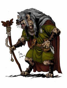Martín Enrique Pelozo, conocido como Mepol | Ilustraciones Dibujante, ilustrador y animador especializado en fantasía medieval.  Obra: Red Wolf. Gnoll Chaman  http://www.mepolus.com.ar/