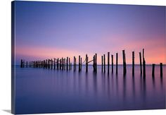 Large Wall Art Canvas Gallery Wrap Ocean Beach Pier Pilings Purple Blue Pink by klgphoto on Etsy, $185.00
