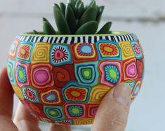 Small colorful indoor pot for plants and succulents Painted Plant Pots, Painted Flower Pots, Flower Pot Crafts, Clay Pot Crafts, Colorful Plants, Unique Plants, Pottery Painting Designs, Paint Designs, Bottle Painting