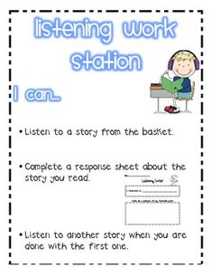 """Literacy Work Station """"I Can"""" Posters"""
