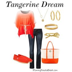 Tangerine is a gorgeous color for the spring! Update your look with this outfit! #fashion #clothing