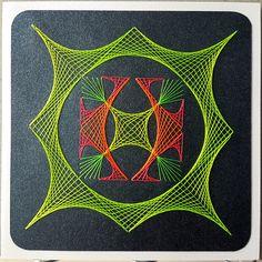 Grußkarte 128 NEON - Motiv Ilka Gafert, fadengrafikshop.de - Doppelkarte mit Umschlag 13,5 x 13,5 cm