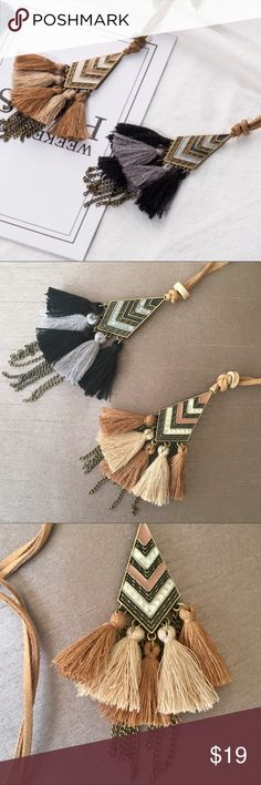 Antique Gold Multi Tassel Chain Leather Necklace Antique Gold Multi Tassel Chain Leather Cord Necklace gesture antique gold alloy, enamel, chain & multi colored tassels (brown & tan) or (black & gray).  Fun, boho vibes perfect for every day.  The Spring/Summer 2018 jewelry collection has arrived, and it's full of geometric shapes, beads & natural druzy stones, tassels and boho accents. It might still be chilly outside, but these pieces will have you thinking of Coachella, music festivals…