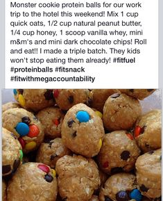Protein monster cookie energy bites  sub chocolate flavored whey instead of vanilla, regular peanut butter instead of natural, add 1 T ground flax.