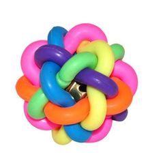Dog Teething Dental Puppies Chew Toy Rubber Rope Ball w Bell M Size 1pcs | eBay