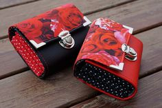 Womens Wallet, Smartphone Wallet, 13x10cm, Red Rose Wallet, Fabric Wallet, Long Wallet, Women's Wallet, Vegan Leather Wallet, Purse