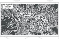 #La #Paz #Bolivia #City #Map in #Retro  by Igor Sorokin on @creativemarket