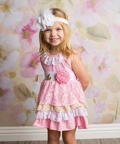 This Pink & Cream Ruffle Tank Dress - Infant, Toddler & Girls is perfect! #zulilyfinds