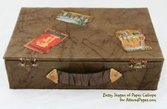 Make a retro style suitcase album with an old box, kraft glassine and travel images. An easy to follow tutorial by Betsy Skagen of Paper Calliope.