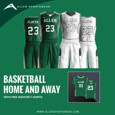 008efc3ba Freshen up your basketball team with our Home and Away Uniform Package and  get custom sublimated shooter shirts for free. See more deals at    Allensportwear ...