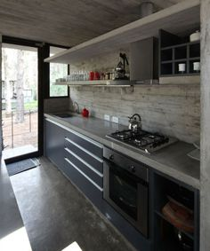 Grey concrete benchtop