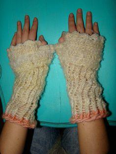 Guantes de lana sin dedos, telar azteca circular