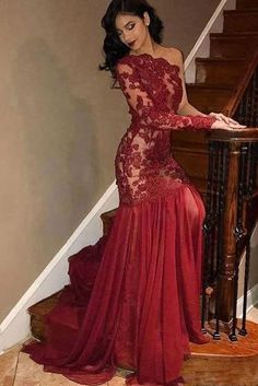 Sexy Tulle Lace One-Shoulder Long Sleeve Burgundy Evening Dress - Website Burgundy Evening Dress, Evening Dresses Uk, Long Sleeve Evening Dresses, Burgundy Formal Dress, Mermaid Prom Dresses Lace, Lace Mermaid, One Shoulder Prom Dress, Custom Dresses, Dresses Dresses