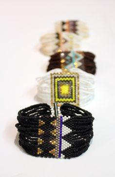 textile swatch bracelet, black Navajo